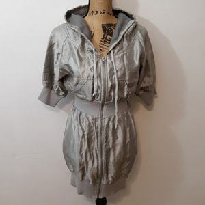 Forever 21 XXI Silver Tone Hooded Jacket Size S